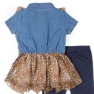 Little Lass Matching Sets - NWT Little Lass Leopard Print Tutu Leggings Set